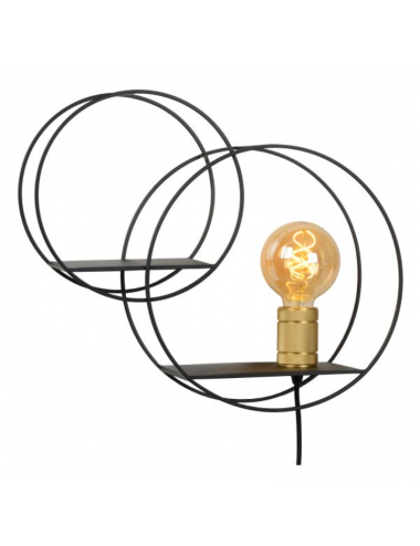 Sienas lampa Circle melna